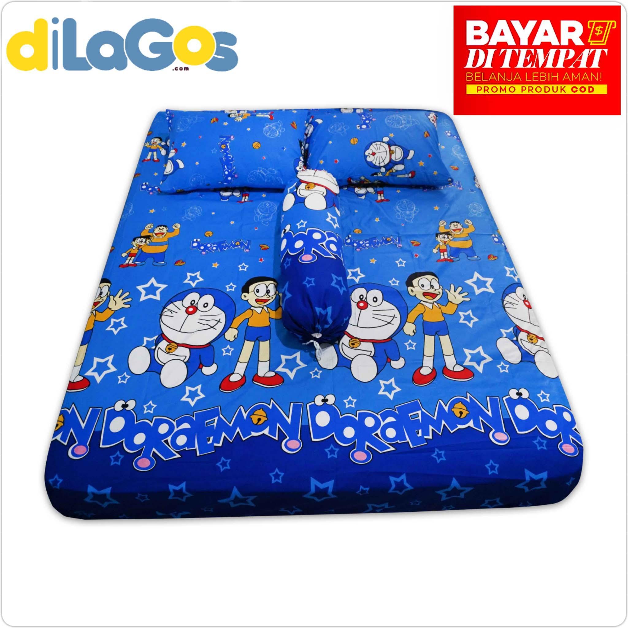 Sprei Resleting  sarung kasur busa Karakter Doraemon NO2 160x200x15