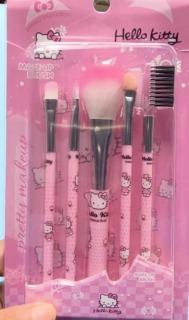 Aksesoris Make up Kuas Makeup Make Up 1 Set Isi 5 in 1 Brush Set Cute Beauty Set Hello Kitty thumbnail