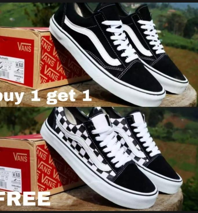 buy 1 get 1 Sepatu Vans_ Classic Old Skool Black White Sepatu Hitam Putih Pria Wanita dijamin termurah bsa bayar di tempat size 36-43