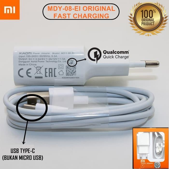 Xiaomi Quick Charger 3.0 MDY-08-EI USB Type C for Xiaomi POCOPHONE F1 / Mi6 / Mi Mix - ORIGINAL 100%