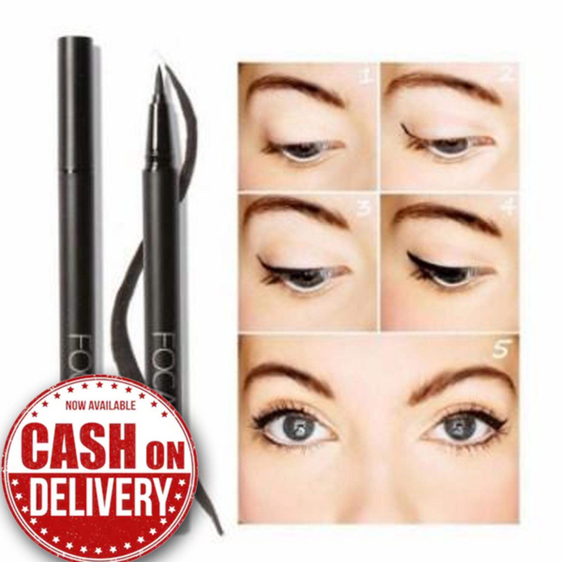 Focallure Eyeliner Pen Cair Warna Hitam Anti Air Tahan Lama - Eyeliner Waterproof - Eyeliner Pensil - Eyeliner Make Over - Eyeliner Spidol