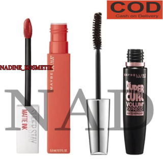 NK- ( COD ) PROMO TERBESAR Paket Maskara Maybelline Paket Make Up Mascara Maybelline waterproof tahan lama anti air Magnum + Lipstik matte tahan lama anti air Maybeline 1set thumbnail