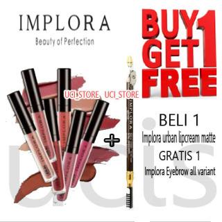 PROMO Paket Implora Cosmetic BUY 1 GET 1 lipcream matte tahan lama dan eyebrow pensil alis implora thumbnail