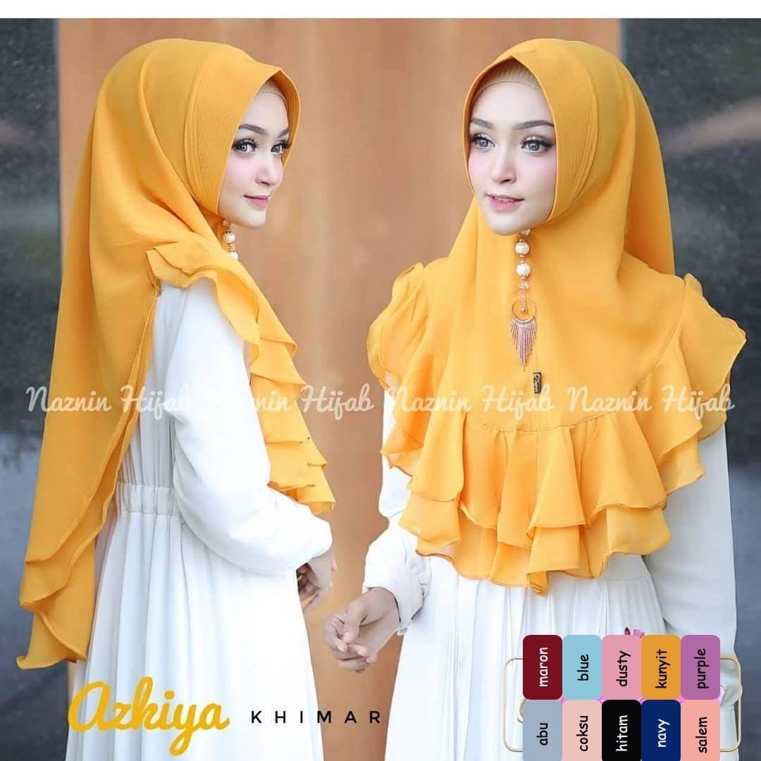 Khimar Syari Azkiya Series Kunyit hijab cantik / jilbab khimar / kerudung instan / khimar oneto