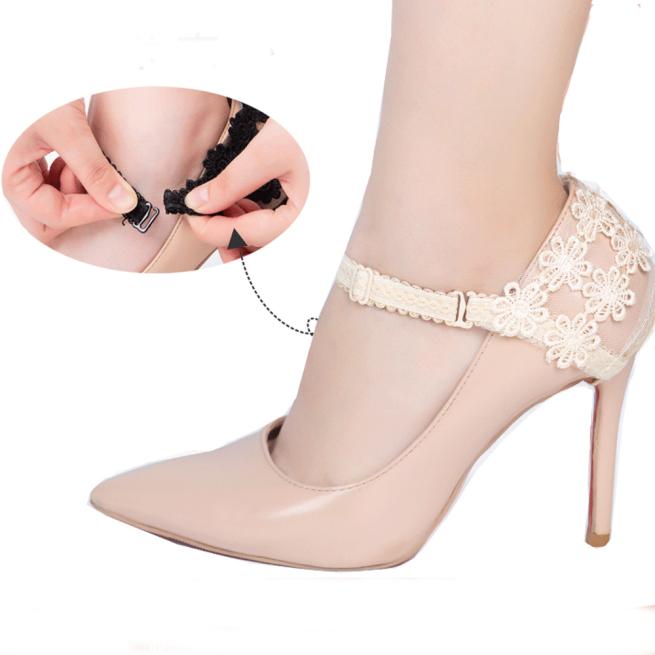 DQPJF I Cặp Dây Buộc Co Giãn Cho Nữ Dây Buộc Hoa Ren Cho Nữ, Băng Bó Giày Cao Gót Trang Trí Giày Cao Gót giá rẻ