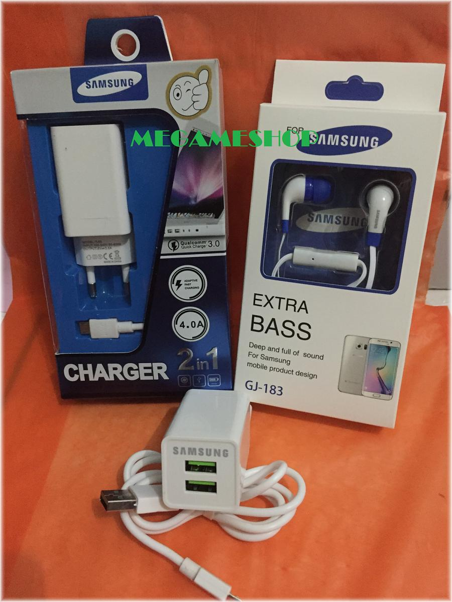 Travel Charger Samsung 2 in 1 Lubang 2 Free Headset Handsfree EXTRA BASS Casan Samsung Original 100% Authentic/ Casan / Carger 15W Adaptive Fast Charging Output 4.0 Ampere USB 3.0 for Samsung Galaxy S4 / S5 / S6 / S7 / Edge / Note 4 / Note 5_MGM27