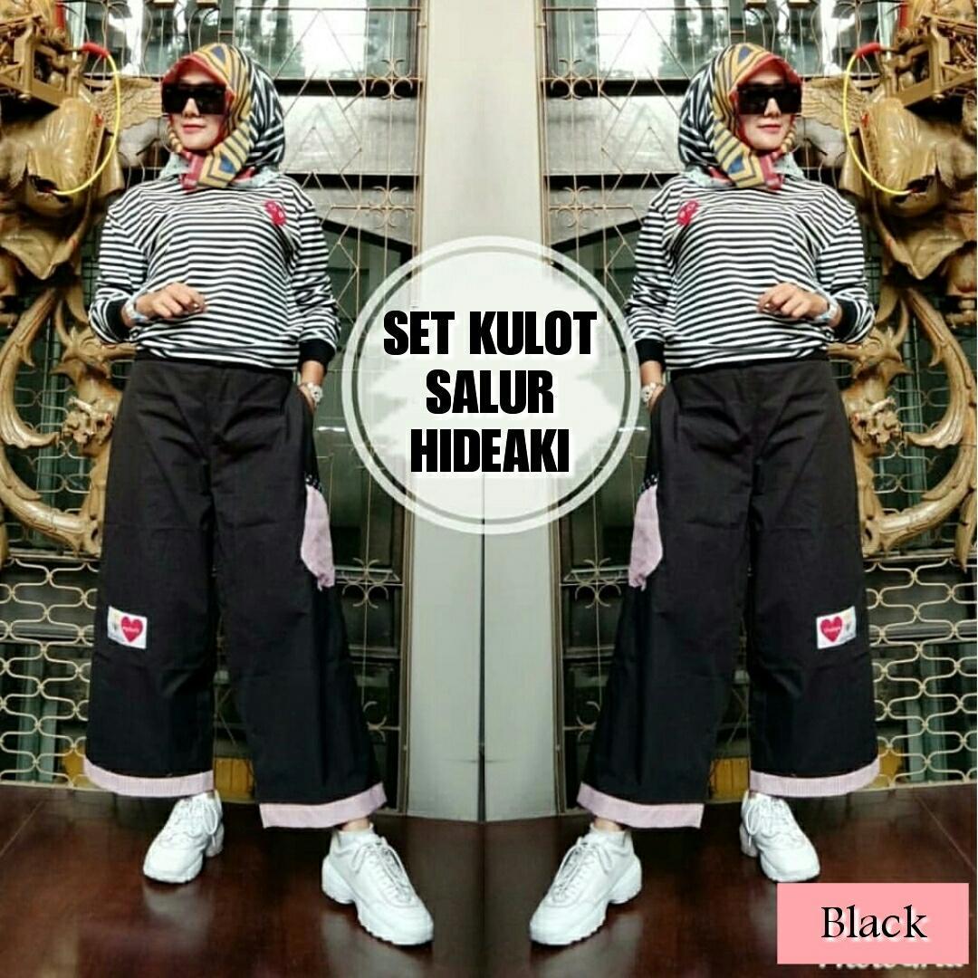 Set Kulot Salur Hideaki Pakaian Atasan Fashion Wanita Muslim 007 By Venzz Shop.