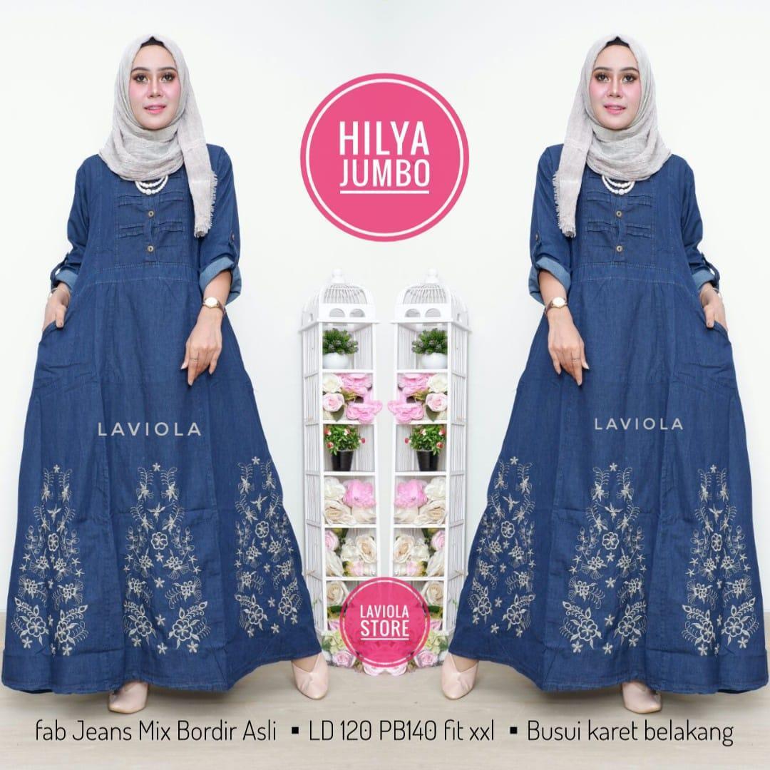 Hilya Jumbo Maxy- Baju Muslim - Maxy Dress - Gamis Jeans - Gamis Model Terbaru