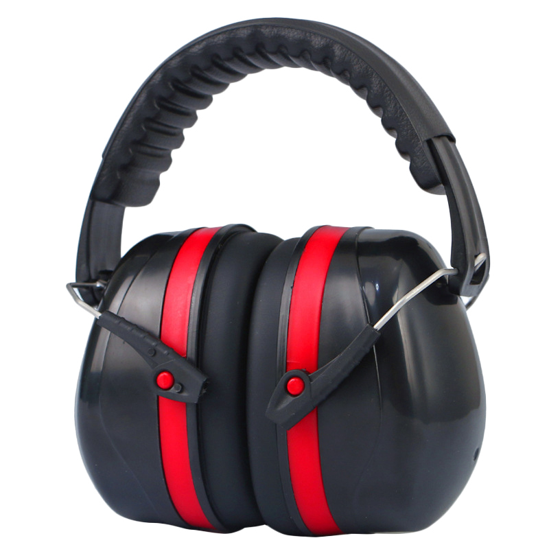 Headset Hearing Protection Ear Muffs Hunting Sleep Work Noise Reduction Sound Ear Protector Earmuffs,Black & Red