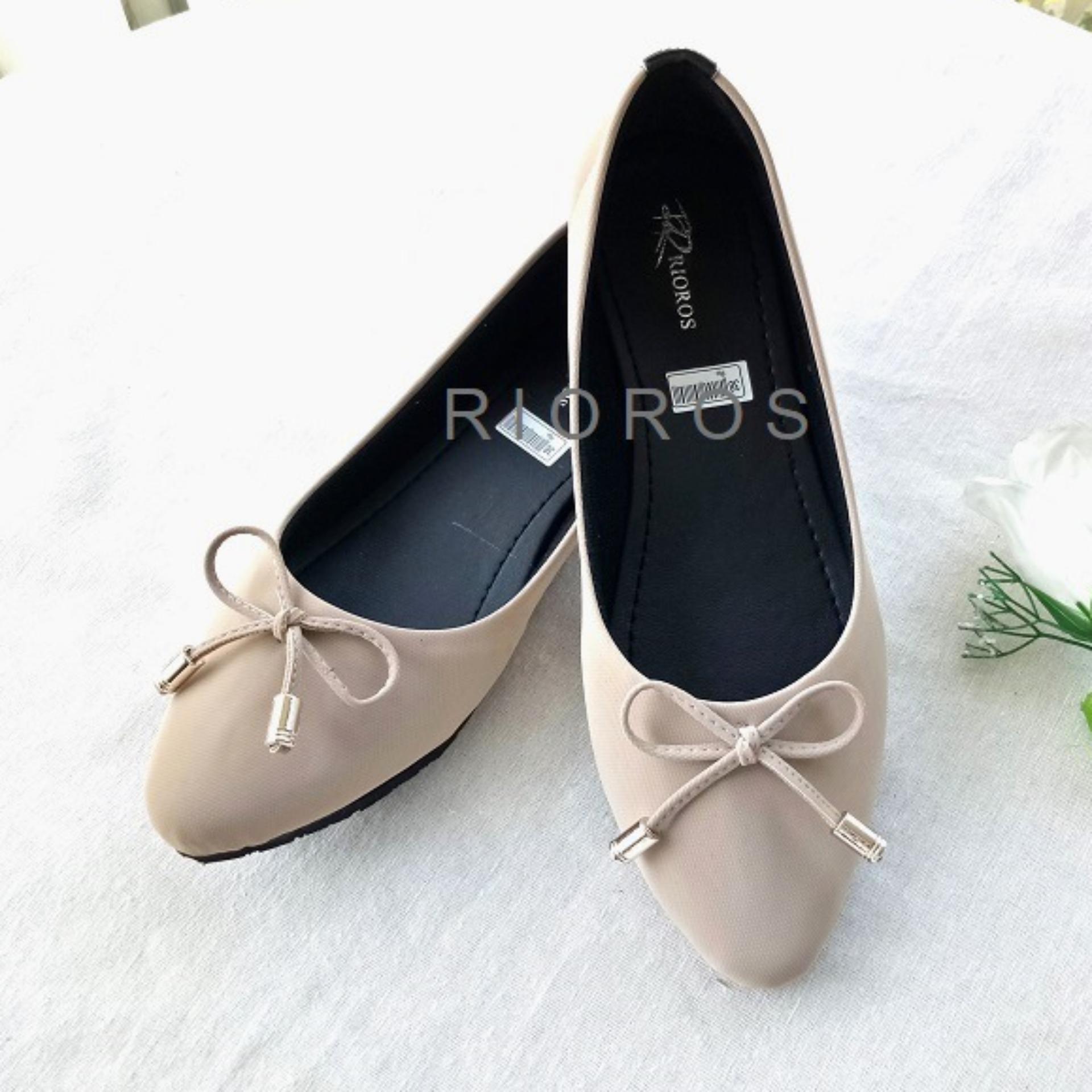 Rioros Sepatu Wanita Flat Shoes Adele Cantik Pita Tali - Cream