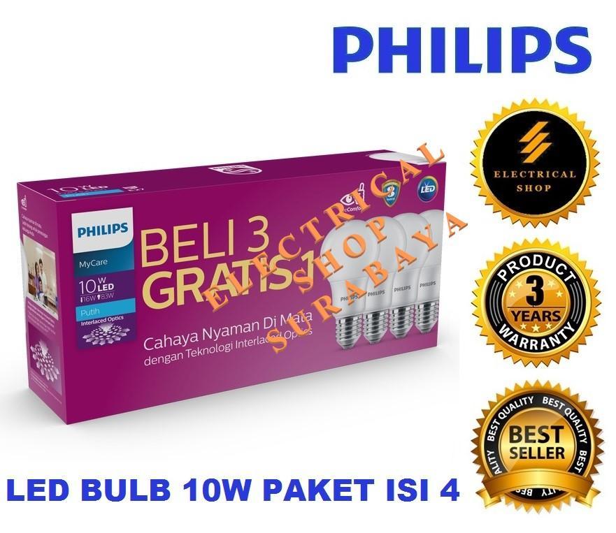 PHILIPS LAMPU LED BULB MULTIPACK MYCARE 10W / 10 WATT PUTIH (BERGARANSI 3 TAHUN) PAKET 3 GRATIS 1