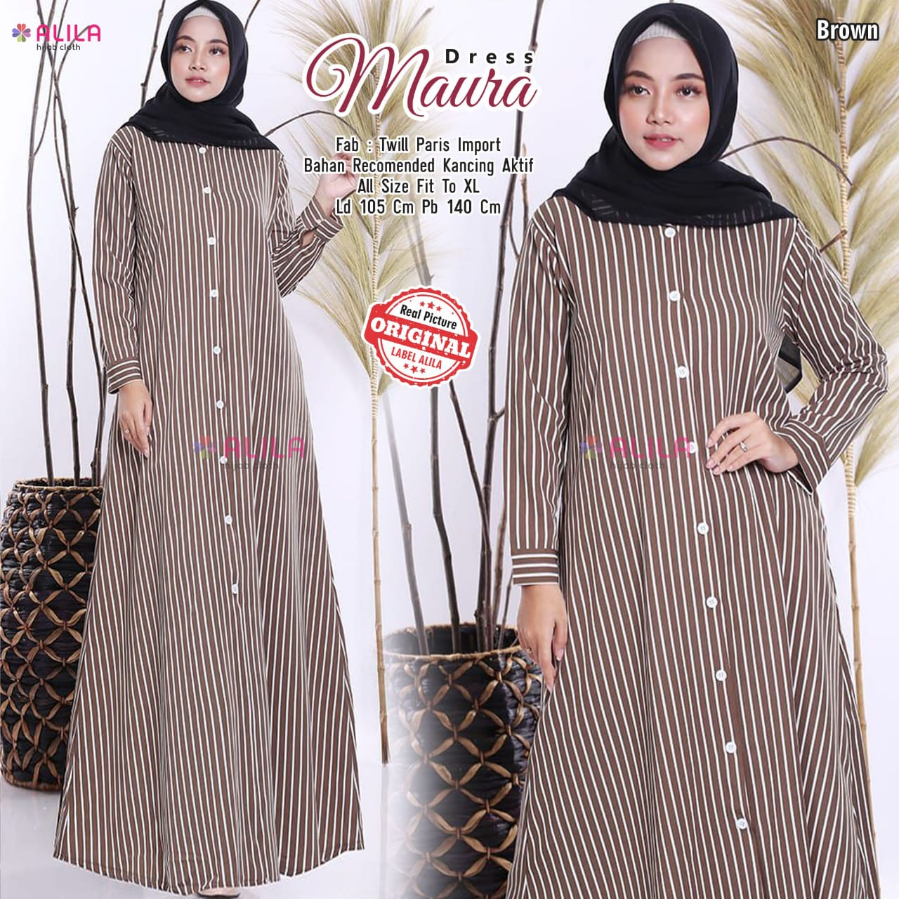 Dress Maura Twill Paris Import Kancing Aktif  Model Gamis Terbaru 10  Untuk RemajaModel Baju dress Panjang EleganDress Baju Muslim Wanita