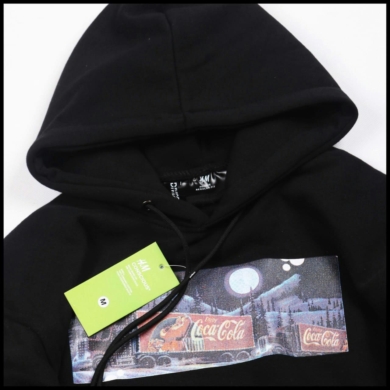 Jaket Sweater Hoodie Pria Wanita H&M X Coca Cola Black (Hitam)