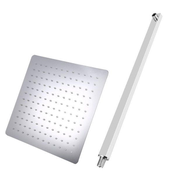 Bảng giá 2 Pcs Square Stainless Steel Ultra-Thin Shower Nozzle Rainfall Wall Mount Shower Head, 1 Pcs 40Cm Shower Arm & 1 Pcs 21x21Cm Shower Heads Điện máy Pico