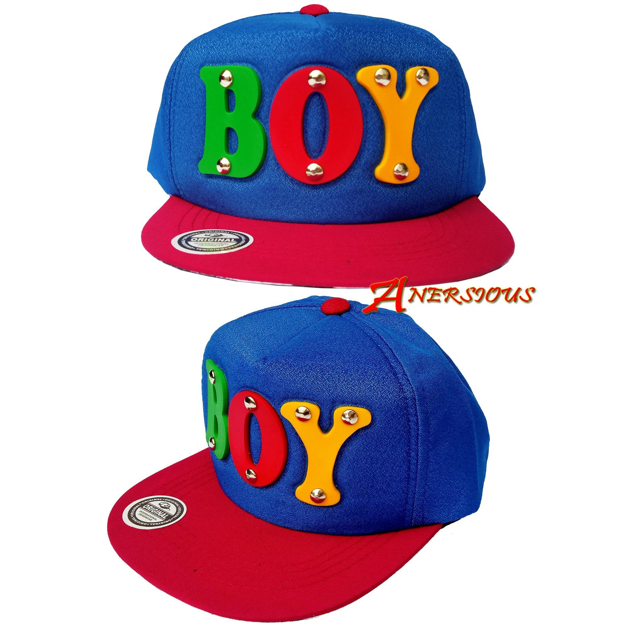 Topi Snapback Anak Model Paku Topi Dengan Desain Motif Keren Tulisan Timbul  Boy 4776bb1203