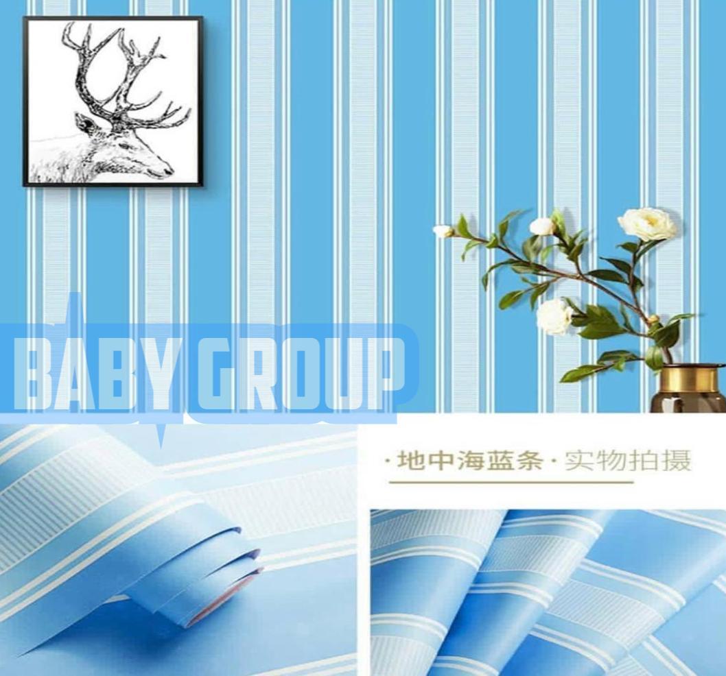 Wallpaper Stiker Dinding Motif Dan Karakter Premium Higth Quality Size 45cm X 10m Salur Biru / Strip Biru Gh027 By Baby Shop__ Ii.
