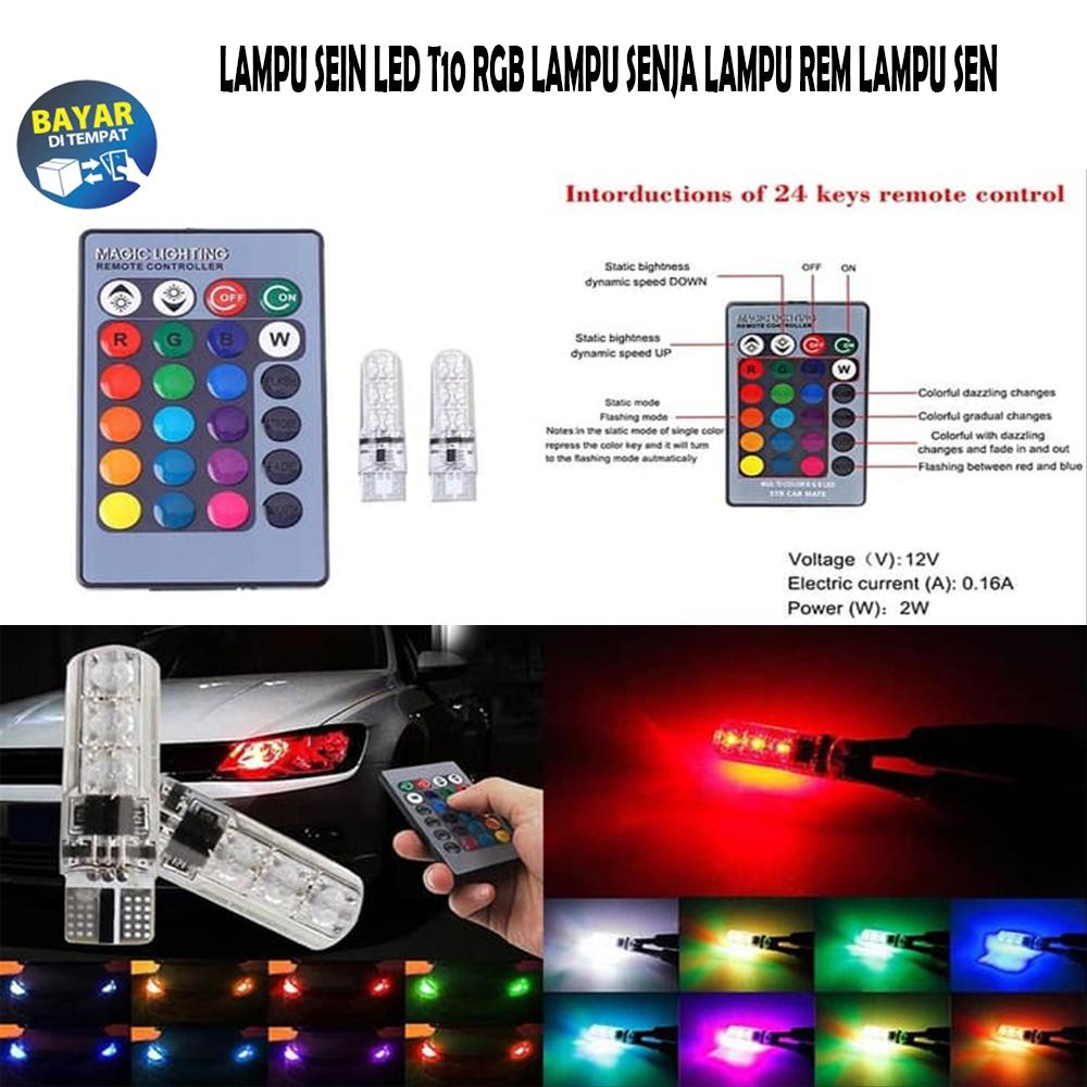 Lampu LED T10 Remote Wireless RGB Lampu Kota Senja Motor Mobil / LAMPU SENJA LED REMOTE T10 RGB - LAMPU SEIN SIGN SEN