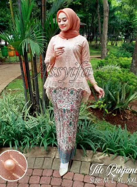REAL PICT!!! Setelan kebaya rinjani bordir tulle / kebaya modern / kebaya wisuda / kebaya mewah best seller