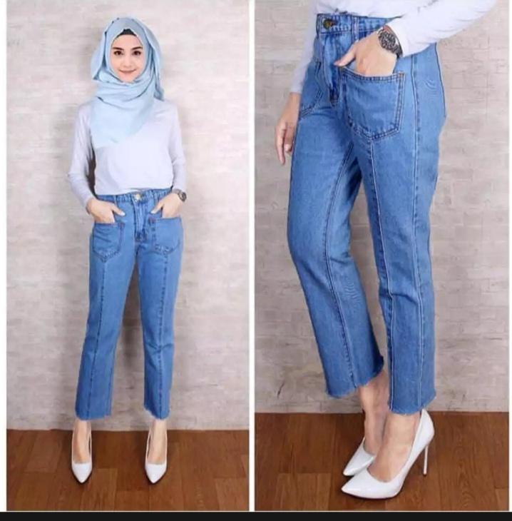 Mitra Fahion Celana Wanita Celana Jeans Wanita Celana Boyfriend Saku Depan Termodis Kekinian Dan Berkualitas Lazada Indonesia
