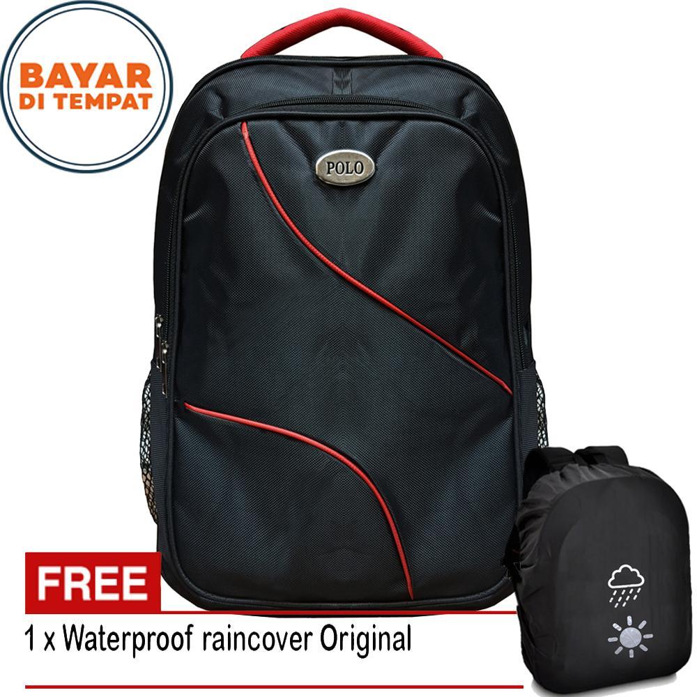tas ransel tas pria tas wanita polo quetdoor P818-18 poliester black +  raincover 9ef15d3864