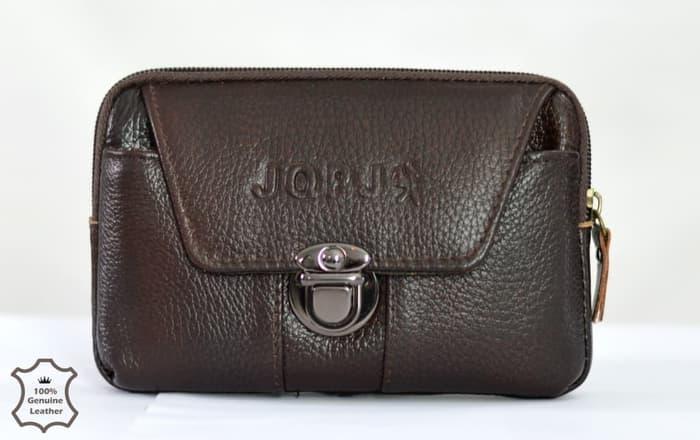 tas pinggang sarung hp kulit asli mobile leather case import 6 inch