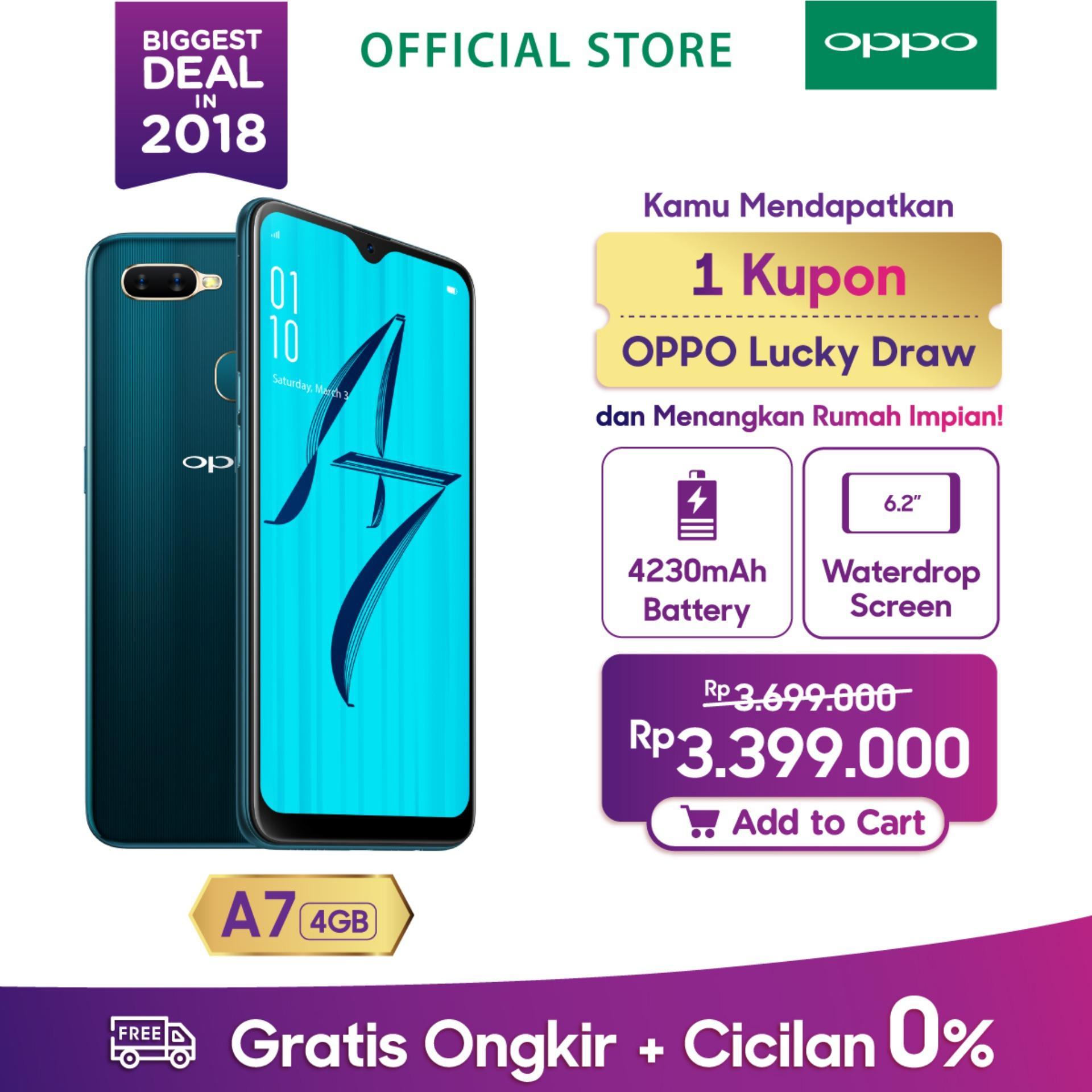 OPPO A7 SMARTPHONE 4GB/64GB,Waterdrop Screen, 3D Premium Body,Dual Camera, AI beauty, Long Lasting Battery (Garansi Resmi, Cicilan 0%, Gratis Ongkir)