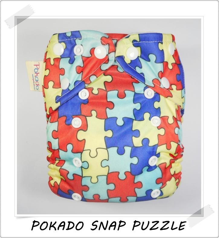 Pokado Snap Popok Kain Clodi Cloth Diapers - Motif Puzzle / Popok Bayi Cuci Ulang