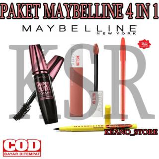 KSR- ( COD ) Paket Maskara Maybelline Paket Make Up Mascara Maybline Magnum + Eyeliner Maybelline Waterproof+Lipstik Maybline + Pensil Alis thumbnail