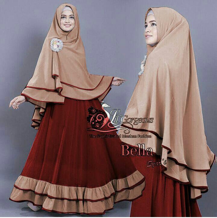 PusatFashion Gamis Syari BellaRose Bahan Jersey Premium Fit to XL / Dress Muslim / Gamis Wanita / Baju Muslim / Hijab Muslim / Fashion Muslim / Syar'i Muslim