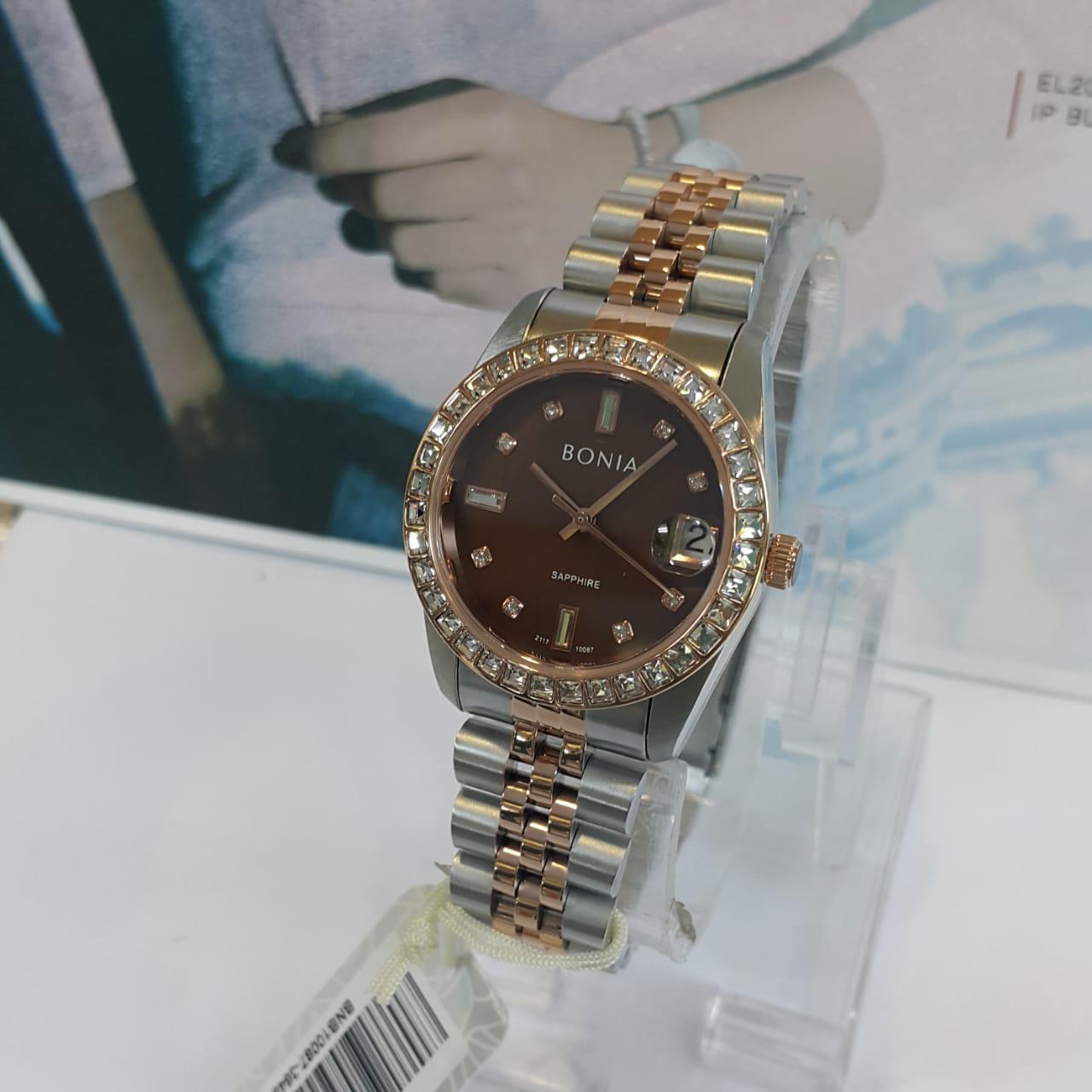 Jam tangan Wanita Bonia BNB10087-3648S Silver brown original d0754c6184