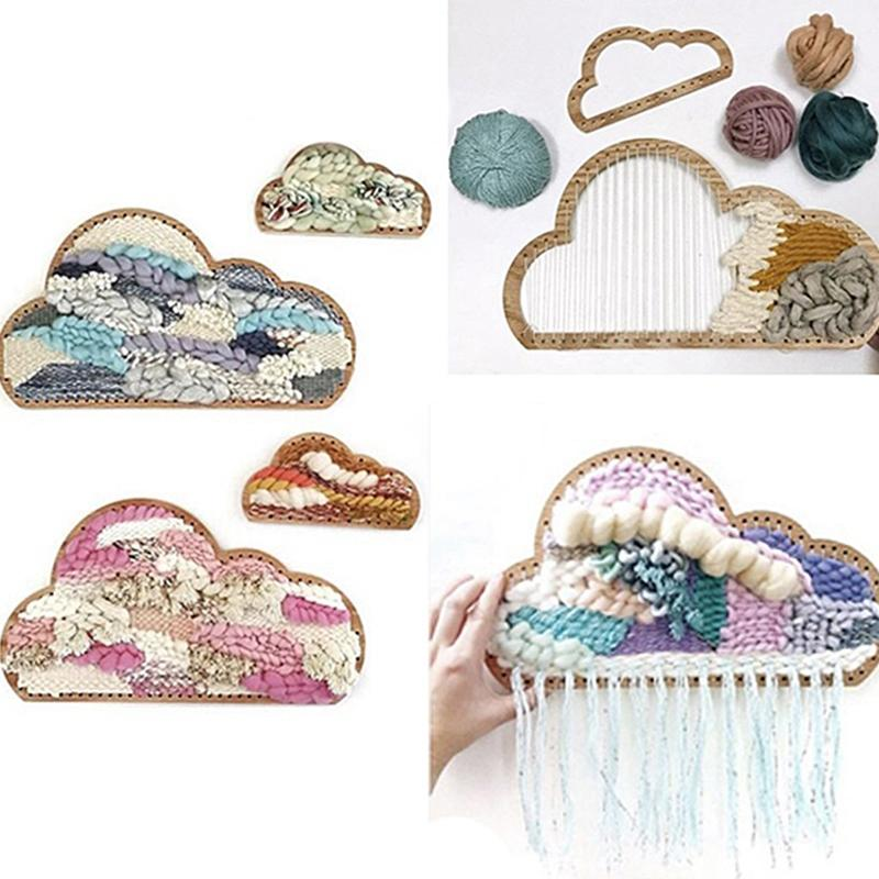 3Pcs Wooden Cloud Shape Knitting Loom DIY Craft Weaving Tool Hand Knitted Machine for Handmade Wall Hanging Kids Children Toys