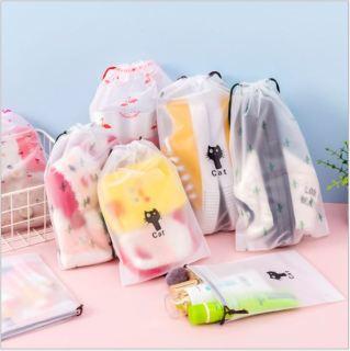 DF Pouch HP Brown Tas Travel Organizer Bag Kosmetik Makeup Make up Anti Air Wanita Import Batam Tempat Pengimpanan Plastik Motif Brown thumbnail