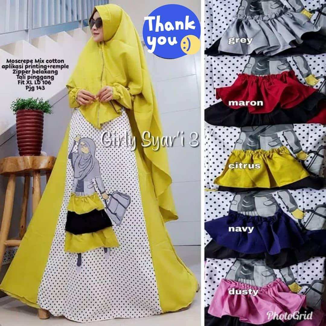 MT Girly Syari Set Wollycrepe Baju Gamis Wanita Muslim Panjang Maxy Long  Dress Terbaru Supplier Pakaian c7ed083137