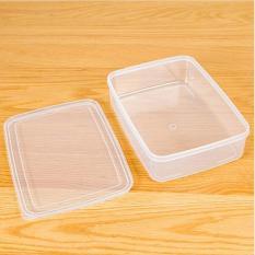 1.6L Transparan Rectangle Tertutup Rak Kulkas Plastik Kotak Penyimpanan Makanan Kotak Wadah Pelestarian Kebutuhan Dapur 23X16.5X6 CM-Intl