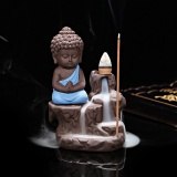 Diskon Besar1 Tenang Pembakar Dupa Keramik Aromaterapi Kreatif Little Monk Censer Backflow Stick Dupa Burner Buddha Kerajinan Dekorasi Rumah T0 Intl