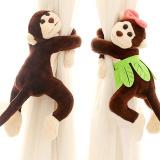 Spek 1 Pair Children Room Nursery Naughty Mainkan Monkey Curtain Tie Kembali Tiebacks Brown Oem