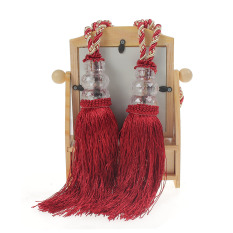 Promo Toko 1 Pasang Dasi Manik Manik Kristal Rumbai Tieback Tirai Jendela Rumah Dekorasi Punggung Dasi Merah