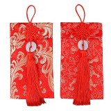 Spek 1 Pair Fabric Brocade Chinese New Year Red Envelopes Hong Bao Cards With Chinese Knot Jade Ring 2018 Year Of The Dog Lucky Money Envelope Festival Money Packets Intl Tiongkok