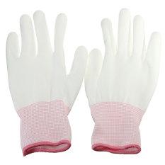 1 Pasang PU Palm Dilapisi Pelindung Keselamatan Anti-statis Bekerja Pekerja Pembangun Sarung Tangan Putih S - Internasional