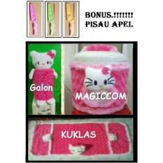 1 set GKM + BONUS PISAU APEL ( Sarung Galon, Sarung Kulkas , Sarung Mejikom / Magic com / Rice cooker ) HELLO KITTY Pink Berkualitas + BONUS PISAU APEL
