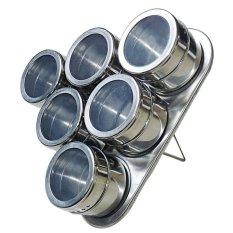 Spesifikasi 1 Set 6 Potong Bentuk Segitiga Dapur Stainless Steel Rak Penyimpanan Bumbu Magnetik Kaleng Wadah Bedak Lengkap