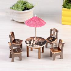 1 Set Kursi Meja Kayu Kerajinan Miniatur Pemandangan Ruang Tamu Garden Decor Kopi