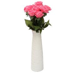 Promo 10 Kepala Kerajinan Nyata Lateks Sentuh Mawar Buket Bunga Dekorasi Pernikahan Desain Rumah Cahaya Merah Muda Internasional Di Tiongkok