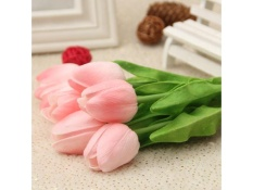 Jual 10 Pcs Artificial Tulip Flowers With Leaves For Wedding Home Decorations 10Pcs Intl Grosir