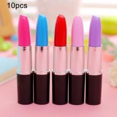 10 Pcs Kreatif Lipstik Bentuk Ballpoint Pen Perlengkapan Sekolah Anak-anak Student Gift-Intl