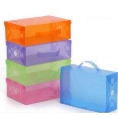10 Pcs Kotak Sepatu Transparan Dengan Pegangan / Handle - Putih Transparan