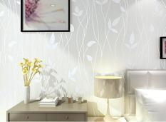100*53 Cm Ramah Lingkungan Non-woven Wallpaper Flocking Tree Daun Segar Pedesaan Kertas Dinding 3D Wall Art Home Dekorasi Stiker Dinding untuk Kamar Tidur Ruang Tamu TV Dinding-Intl