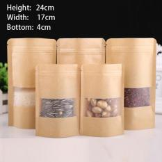 Jual 100 Pcs 17X24 4Cm Stand Up Bulk Food Storage Ziplock Bag Food Moisture Proof Bags Window Bags Brown Kraft Paper Doypack Pouch Ziplock Packaging For Snack Cookies Mylar Heat Sealable Smell Proof Pouches Tear Notch Coffee Zipper Valve Grocery Wrap Intl Murah Di Tiongkok