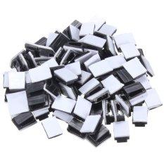Spesifikasi 100 Pcs Hitam Plastik Kawat Dasi Persegi Kabel Gunung Klip Clamp Otomatis Perekat Murah