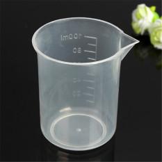 100 ML Dapur Uji Laboratorium Plastik Ukur Gelas Cup Kotak-Internasional
